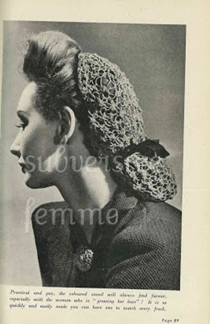 Knitted snood from the mid-40s | Lavender & Twill