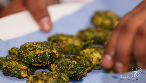 Cooked chard and waterchestnut pakoras