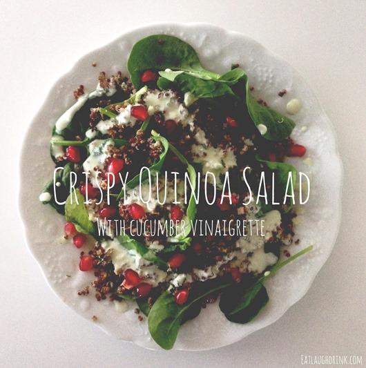 Crisyp Quinoa Salad with Cucumber Vinaigrette