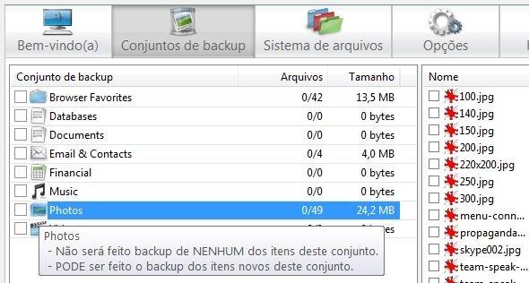 Conjuntos de backup automáticos.