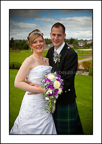 Bride and groom wedding piperdam dundee