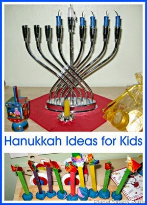 Hanukkah book and a menorah craft
