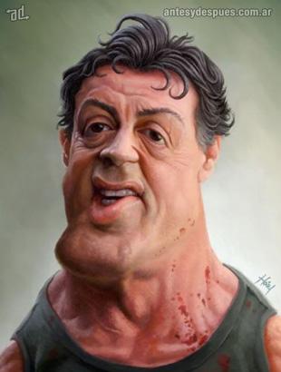 La caricatura de Sylvester Stallone