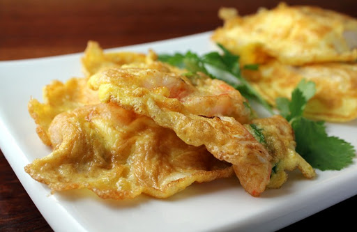 Egg, Shrimp and Scallion Pancakes