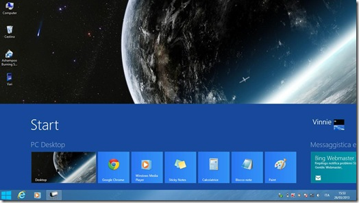 Schermata Start Windows 8 visualizzata sul Desktop