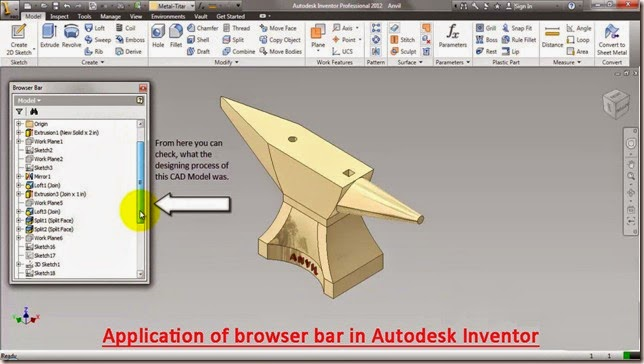 Application of browser bar in Autodesk Inventor