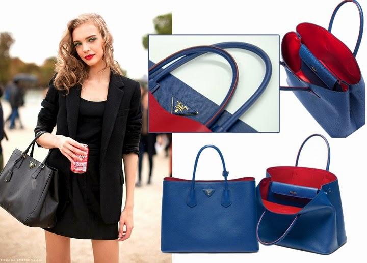 18598f992 Confira 8 releituras inspiradas em grifes famosas. Paradoxo das cópias na  indústria da Moda. prada bolsa double bag 2014