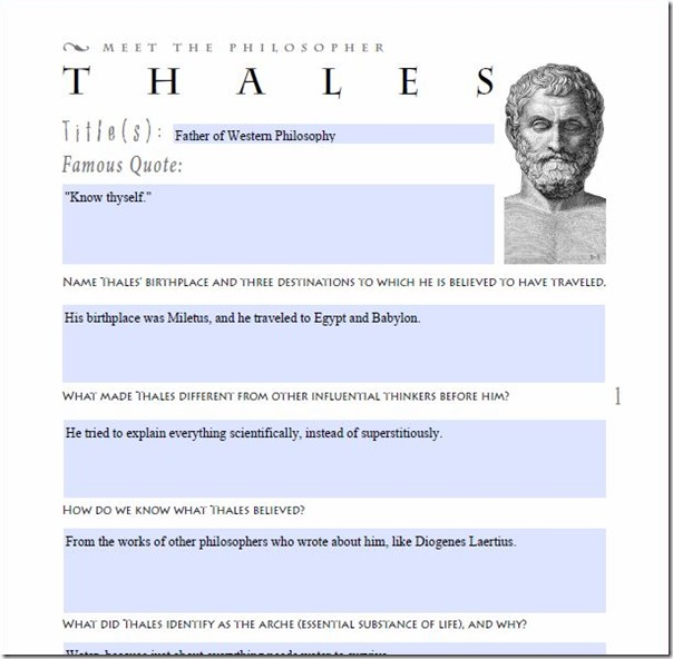 philosophy adventure thales type in