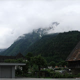 Wintersportgebiet in den Wolken.