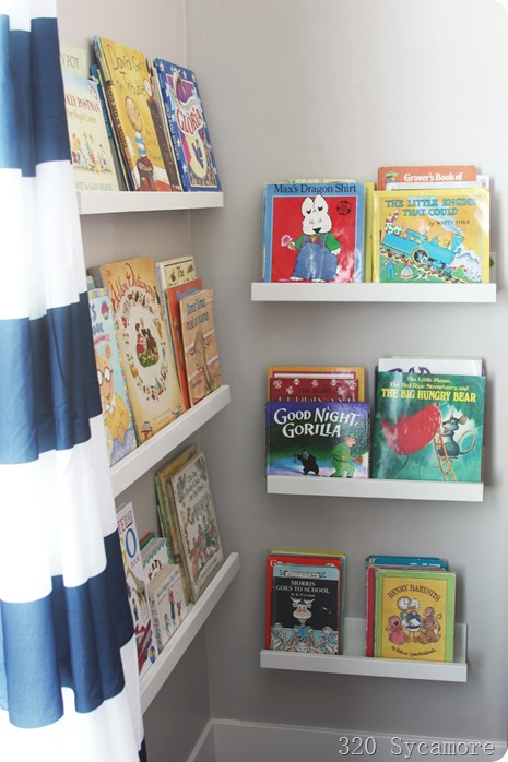 kids room book ledges diy