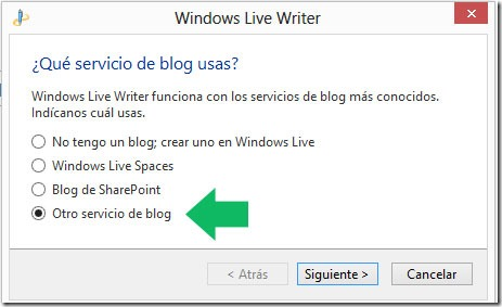 Agregar un blog de Blogger a Windows Live Writer