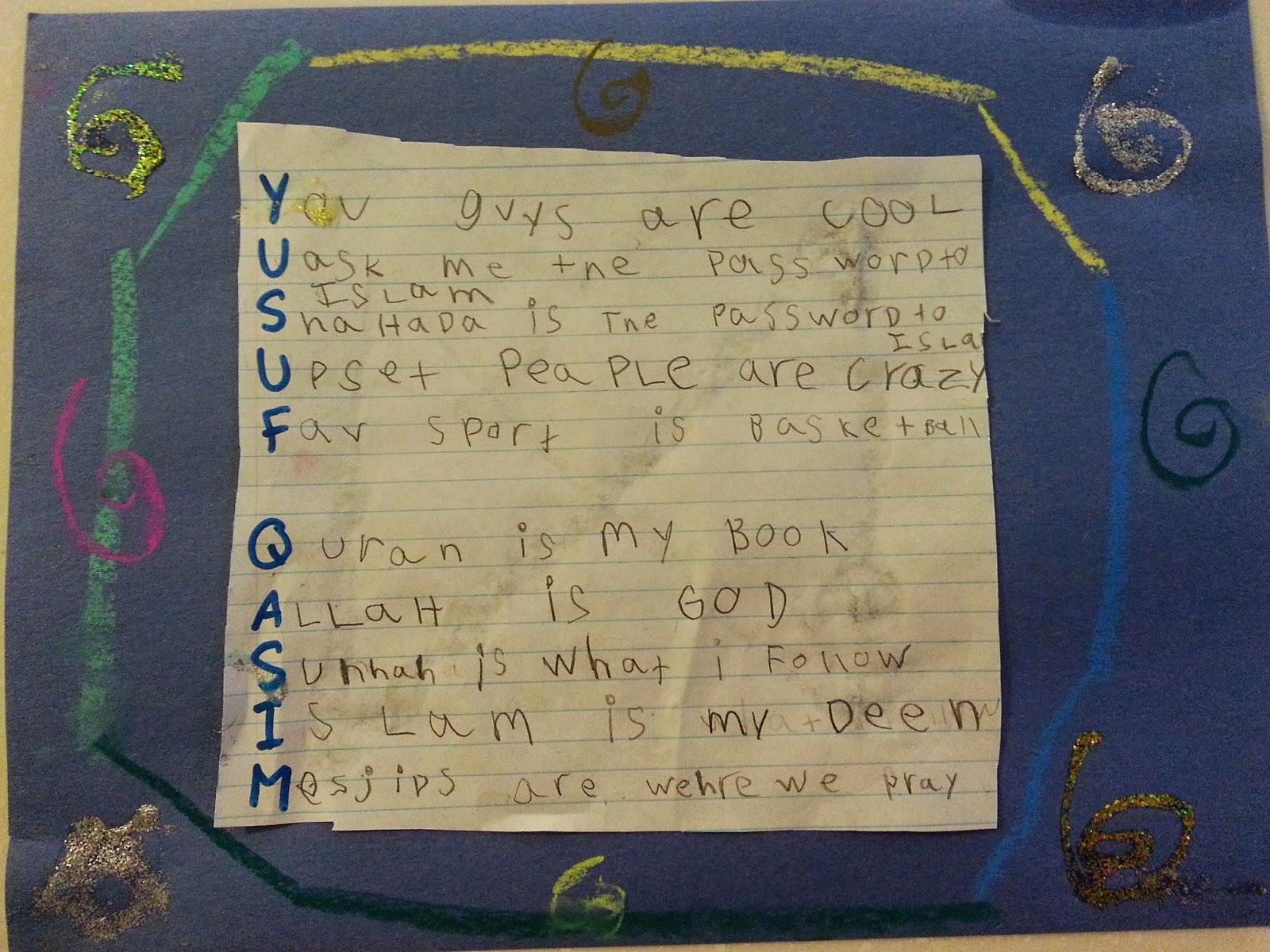 Acrostic Poems Aasiyas Homeschool