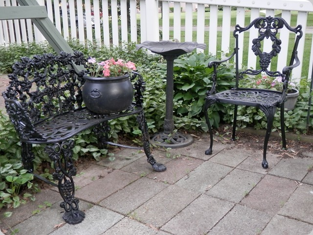 Cast Iron bench and chair after paint