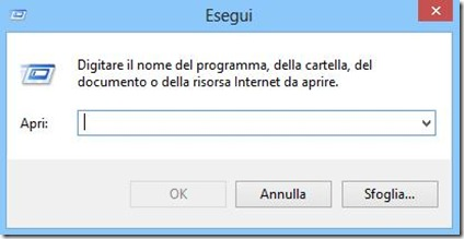 Finestra di dialogo Esegui di Windows 8