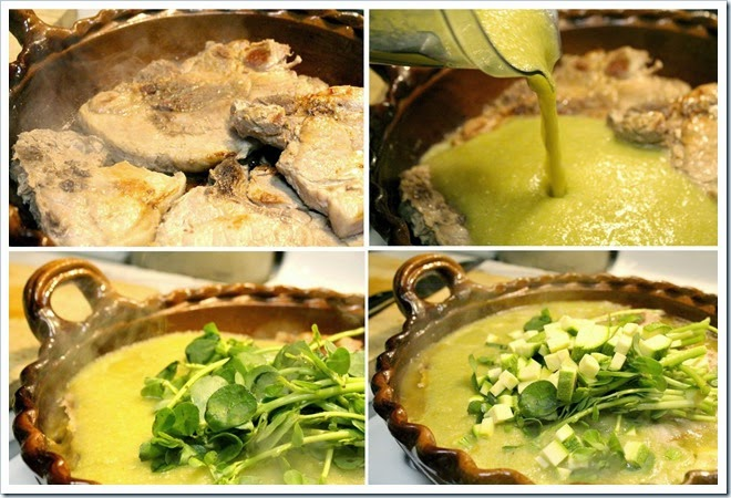 Pork Chops with Purslane in Tomatillo Sauce | Instrucciones step by step, quick and easy
