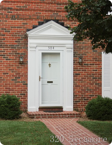 white door   brick