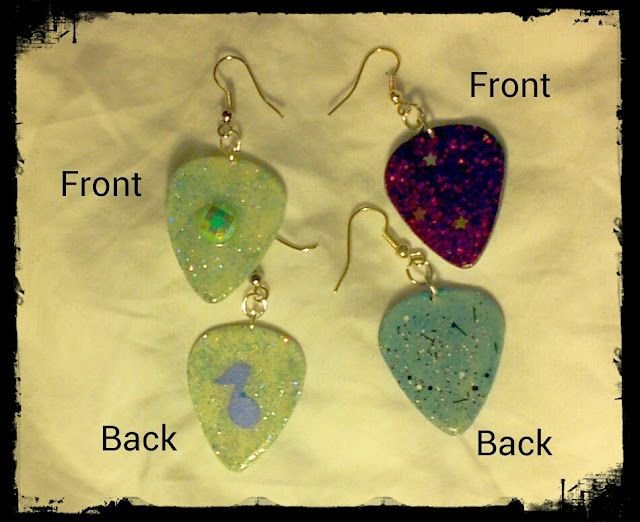 Glittering glow in the dark guitar pick earrings