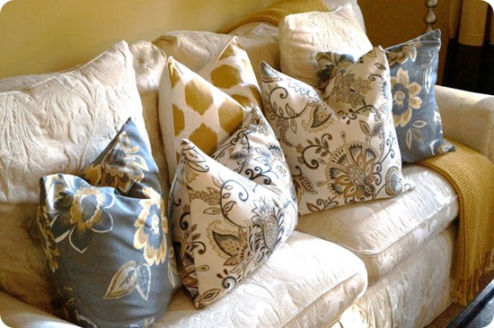 blue yellow modern pillows