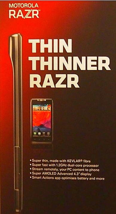 MOTOROLA RAZR – THINNEST ANDROID WITH MOTOCAST APP AT SINGTEL M1  STARHUB