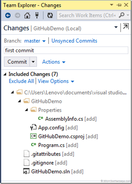commit-message-git-visual-studio