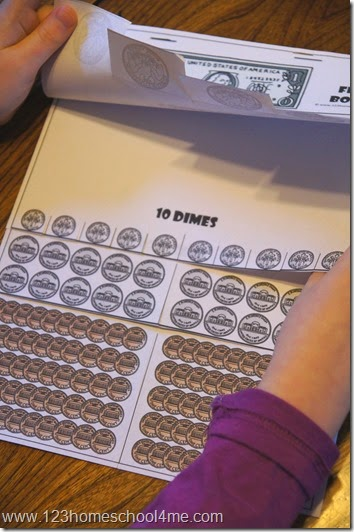 great for helping kids understand how many half dollars, quarters, dimes, nickels, and pennies make up one dollar