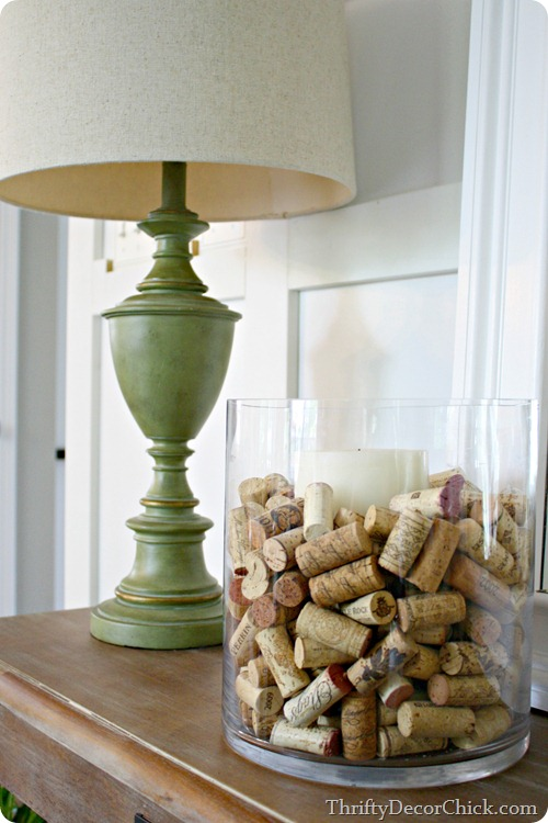 simple decorating -- corks around candle