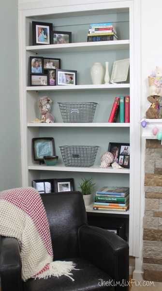 Wire baskets on shelves