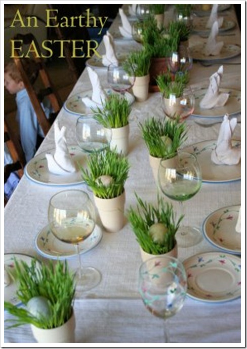 grass place card setting
