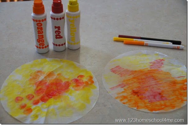 color a coffee filter with markers