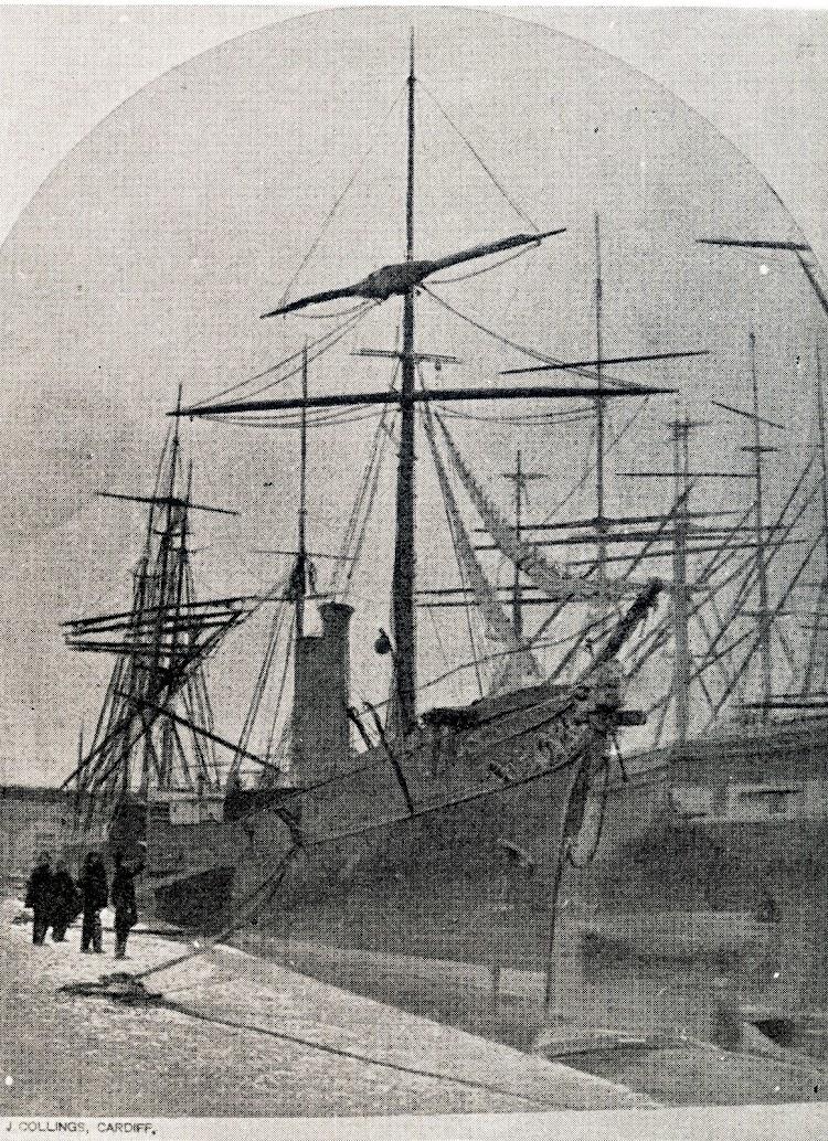 Preparativos de salida del vapor a ruedas MALLORCA del puerto de Cardiff hacia Palma. 25 de febrero de 1865. Foto cortesia de la familia Miró- Granada Gelabert. Foto J. Collings. (Car.jpg