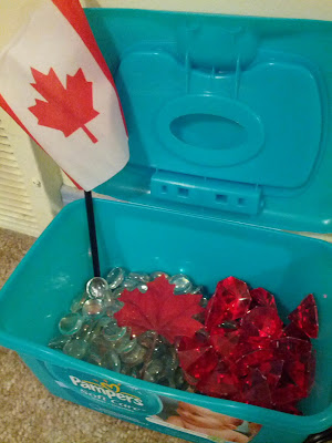 Materials used for Canada Day light box (or light table) activity from And Next Comes L