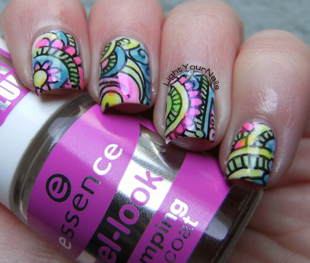 Leadlighting mani with BP-48 plate from BornPrettyStore and Catherine Arley neons
