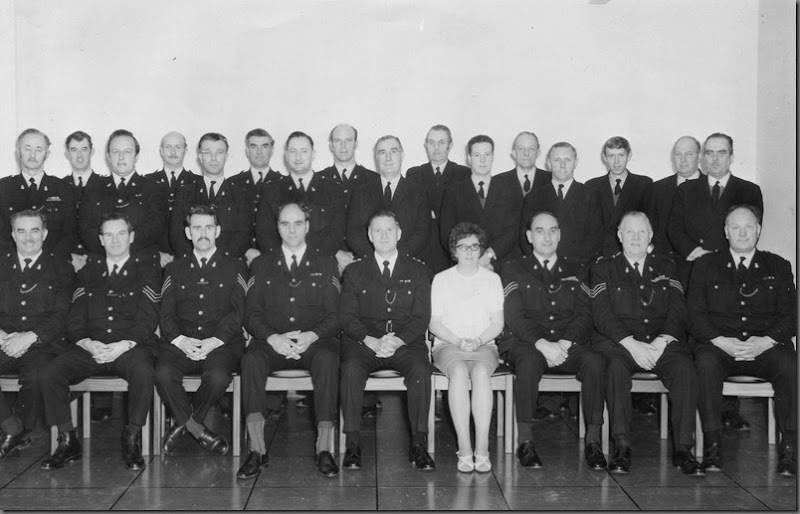 Motor School Staff photo, c.1972, the move from Sedgefield to HQ<br />     Back Row,  Ted Barber, Alan Drake, Dick Hart ?, Barney Conlon, Graham Suddick, Vic Dunn, John Nixon, Peter Willis, Jock Little, Cec Melville, Fred McDonald, Johnny Waller, Norman Galloway, John Glendinning, Joe Millican, ?<br />     Front Row,  Cyril Pearson, Jock Murphy, Alan Miller MPO Sgt (later transferred to N'bria), Fred Anderson, Alf Charlton, Mary Lancaster, Tommy Lingwood, Dave Hodgson, Harry Lancaster