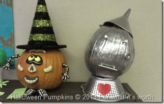 tin man, witch Halloween pumpkins
