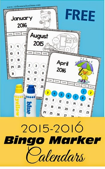 FREE! 2015-2016 bingo marker calendars for preschool kindergarten 1st grade