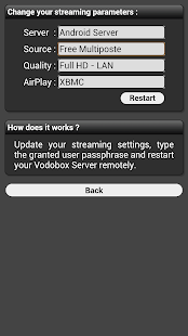 My VODOBOX Android Server Capture d'écran