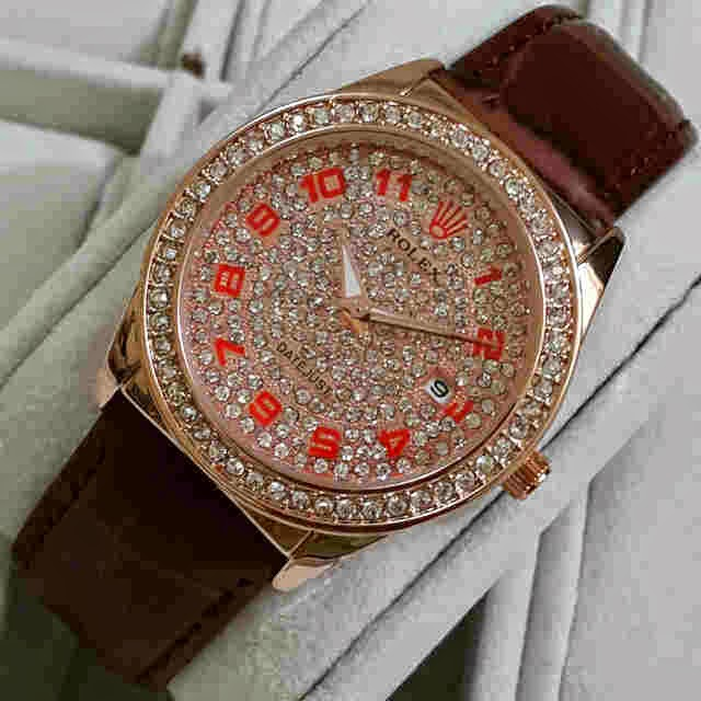 Jual jam tangan Rolex Romawi diamond rose gold