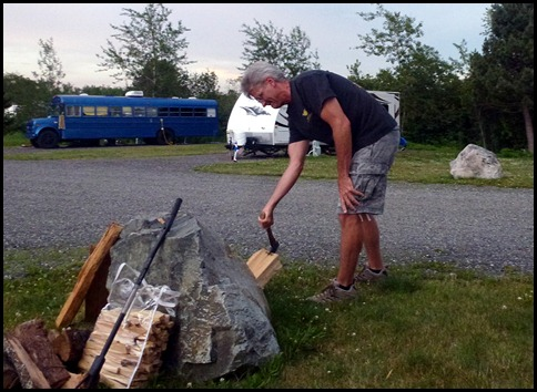02f1 - Hanging out on the 4th - Dan's rock splitting log