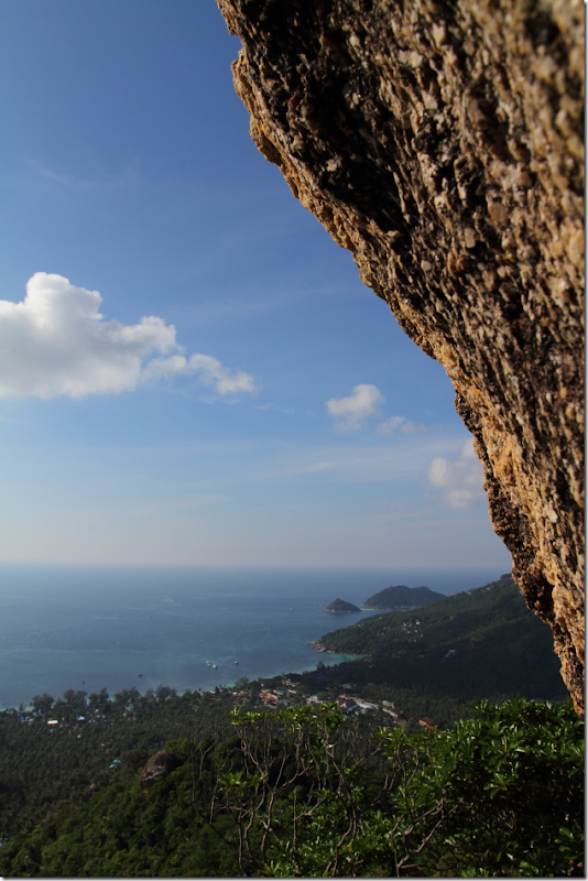 View of the west coast from atop a rock at Koh Tao
