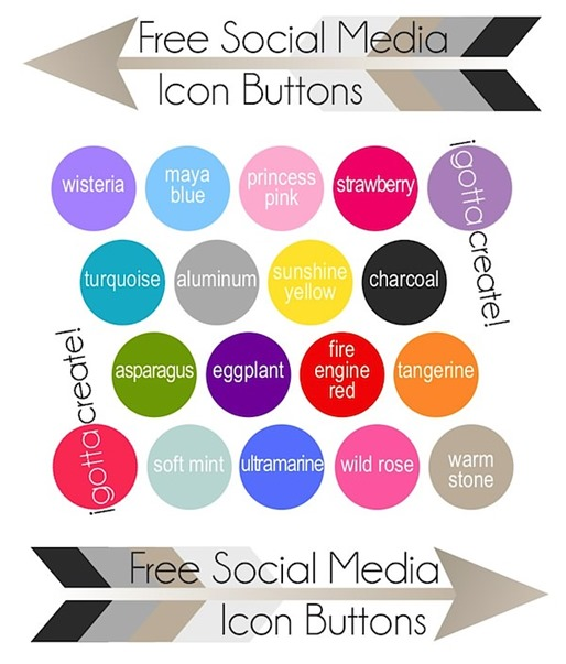 Free Social Media Icon Buttons from I Gotta Create in the perfect color mix collection