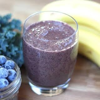 Blueberry Banana Kale Smoothie.