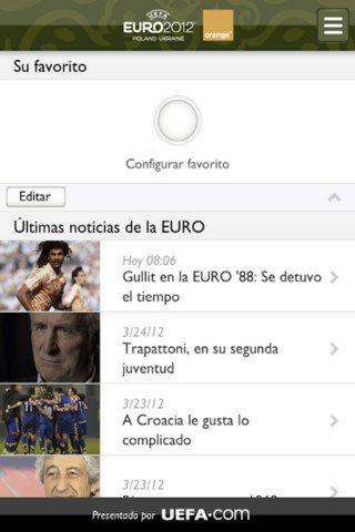 Aplicación de la Eurocopa 2012 para iOS