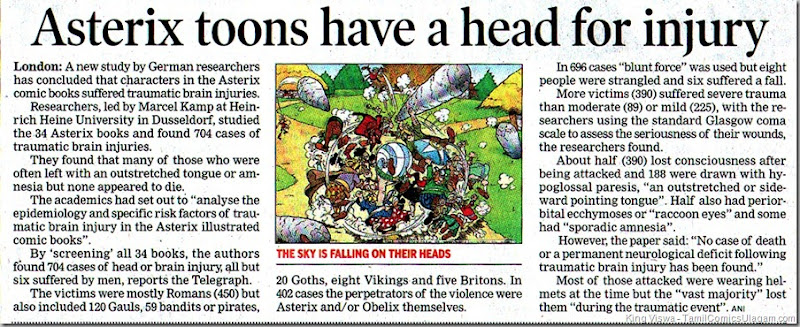 Times of India Dated 17062011 Chennai Edition Page No 17 Head Injuries in Asterix Stories