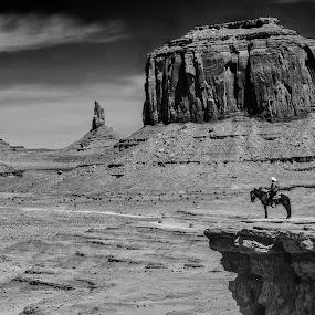 John Ford Point by Flavio Mini - Black & White Landscapes ( monument valley, cowboy, utah, black and white, landscape,  )