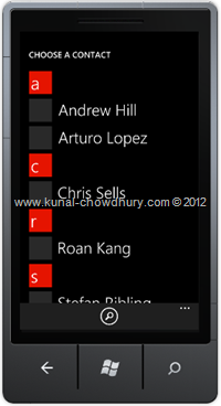 Screenshot 1 : How to Retrieve Phone Number from Contacts in WP7 using the PhoneNumberChooserTask?