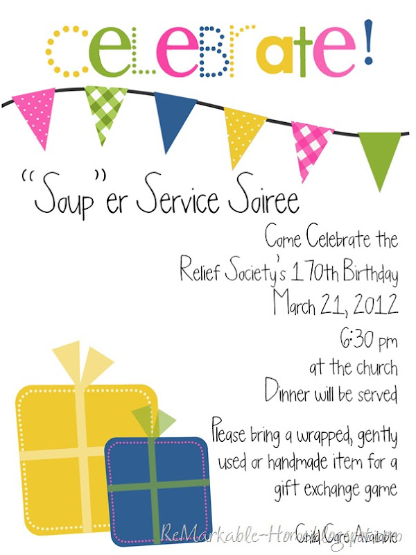 ReMarkable Home: RELIEF SOCIETY BIRTHDAY PARTY {Super