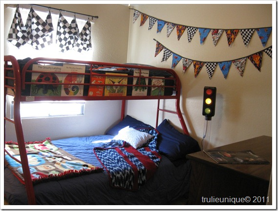 Race Car Room, pennant banner, checker flag valance,