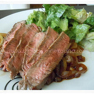 Sirloin Steak with Caramelized Onions.
