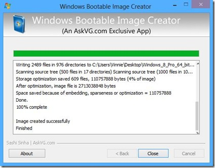 WBI Creator immagine ISO di Windows creata