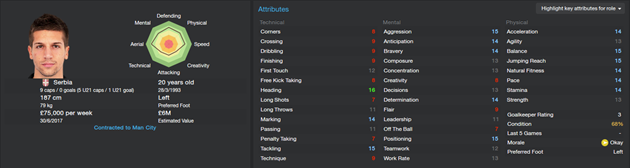 Matija Nastasic - Starting attributes